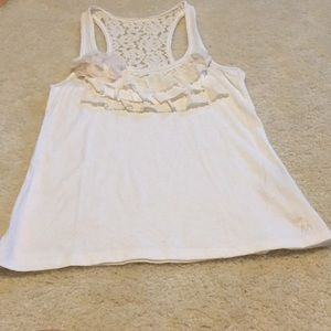 Abercrombie white tank with lace ruffles and back